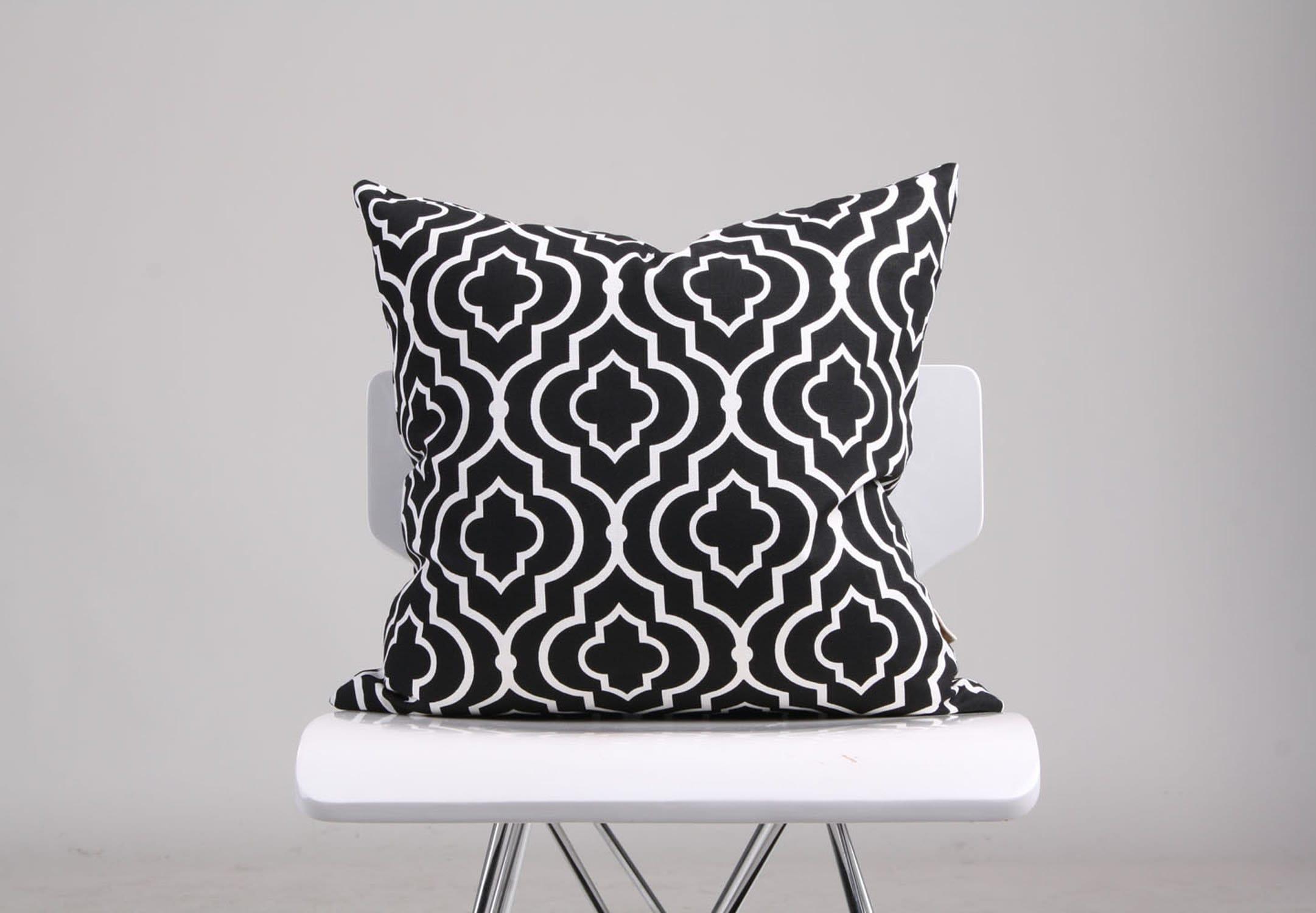 Moroccan Tile Pillow Cover Black White Pillow Geometric Cushion Black Cushion Decorative Pillow Black Accent Pillow Throw Pillow