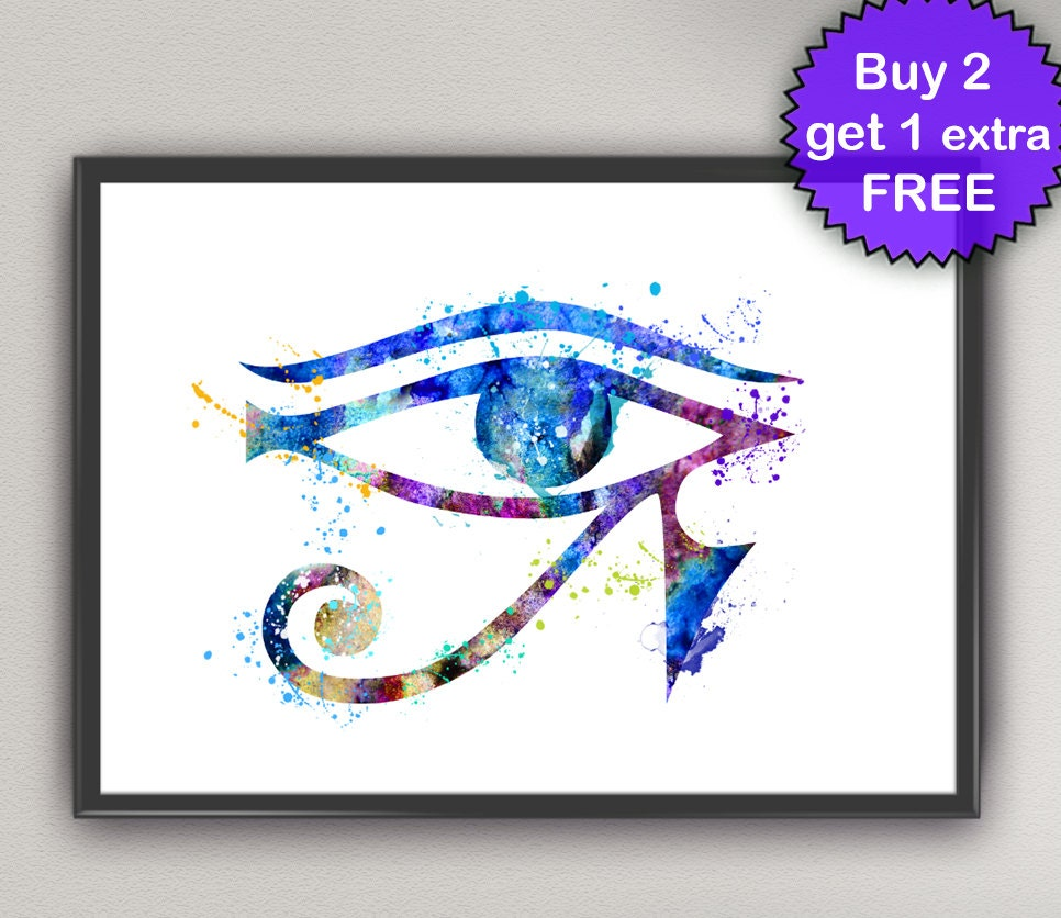 HORUS EYE Watercolor Art Print Egyptian God of Ancient Egypt