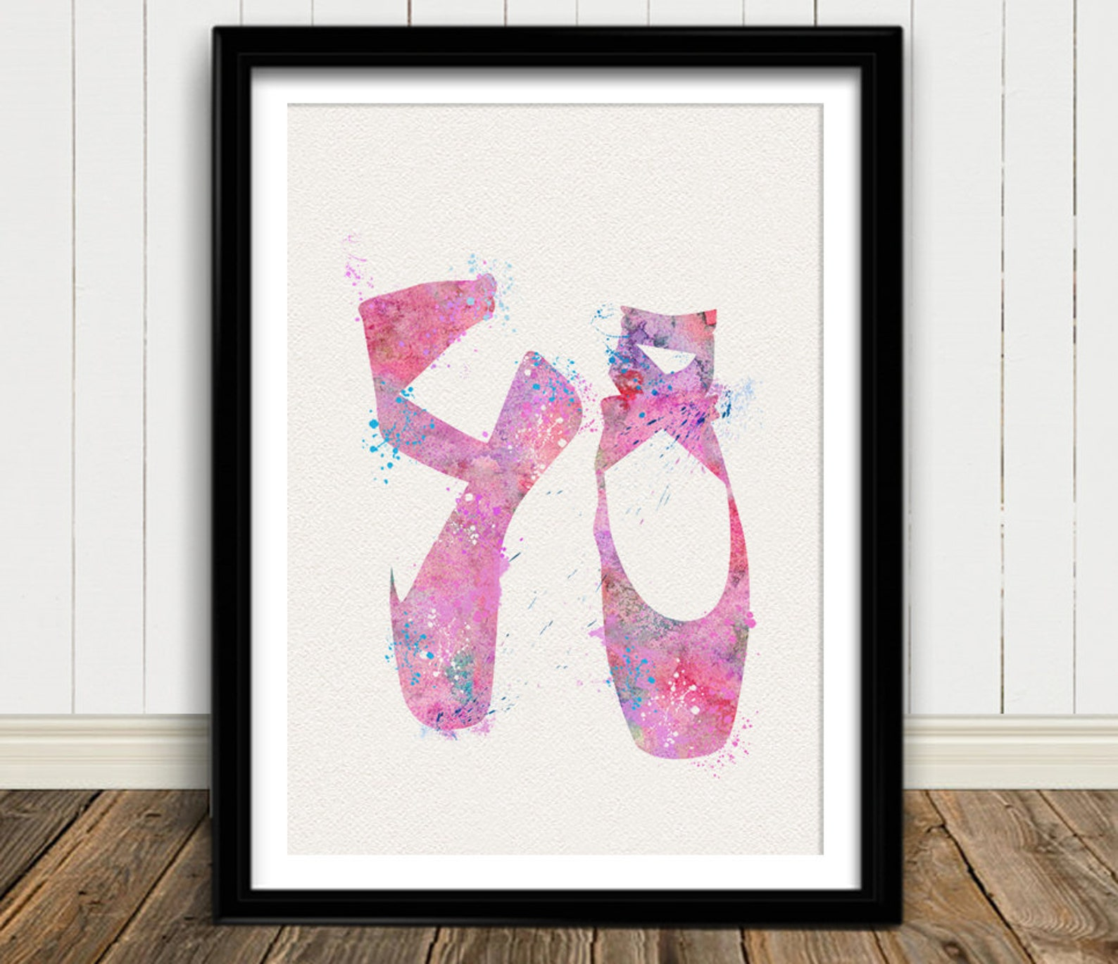 ballerina shoes pink watercolor art print ballet shoes ink classic dance painting illustrations art print wall art wall decor ar