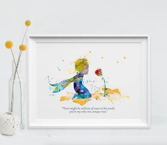 Der Kleine Prinz Kunstdruck Aquarell Und Die Rose Druck Zitat Le Petit Prince Und Fox Principito Art Für Kinder Kunst Wand Nº23