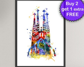 Sagrada Familia GAUDI Watercolor Art Print Barcelona Gaudi Art Spain Europe Ink Art Print  Wall Art Poster Wall Decor Home (Nº1)