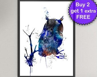OWL Watercolor Art Print Bird of Prey Ink Painting Watercolor illustrations Art Print Wall Art Poster Giclée Wall Decor Art Home (Nº11)