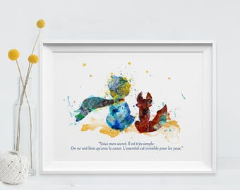 The Little Prince Art Print Watercolor Poster Only With The Heart Quote Le Petit Prince and Fox Principito Art for Kids Art Wall (56-Nº17)