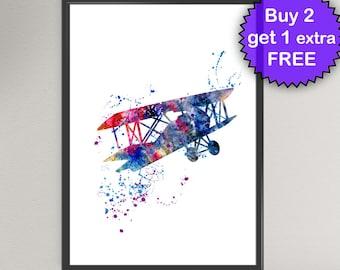 AIRPLANE Watercolor Art Print Kids Nursery Decor Ink Vintage plane airplane Art Print Wall Art Poster Giclée Wall Decor (Nº1)