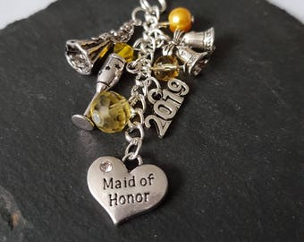 Maid of Honor gift - bridesmaid gift - gift for maid of honor - bridal party gift - Maid of honor bag charm - Maid of Honor thank you