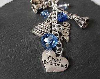 Chief Bridesmaid bag charm - Chief bridesmaid gift - gift for chief bridesmaid - bridesmaid accessory - wedding gift - be my bridesmaid