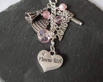 Flower girl gift - bridesmaid gift - gift for flower girl - bridal party gift - Flower girl bag charm - Flower girl thank you