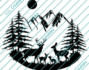Downloadable Files - Nothing will be shipped - Deer Scene With Babies Cutting File - CU ok - SVG - PNG for crafting, Cricut etc.