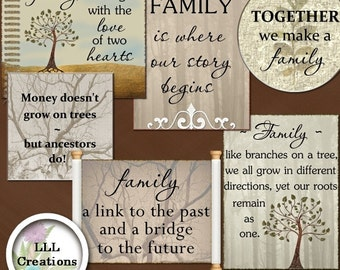 Downloadable Files - Nothing will be shipped - LLL Scrap Creations - My Family Tree Word Art - Digital Scrapbooking Kit