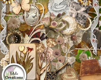 Downloadable Files - Nothing will be shipped - LLL Scrap Creations - Vintage Sepia - Digital Scrapbooking Kit