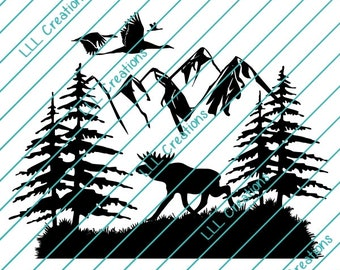 Downloadable Files - Nothing will be shipped - Moose Scene Cutting File - CU ok - SVG - PNG for crafting, Cricut etc.