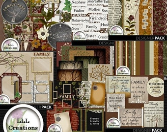 Downloadable Files - Nothing will be shipped - LLL Scrap Creations - My Family Tree Bundle - Digital Scrapbook Kit