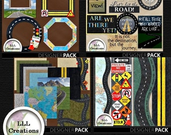 Downloadable Files - Nothing will be shipped - LLL Scrap Creations - Road Trip Bundle - Digital Scrapbooking