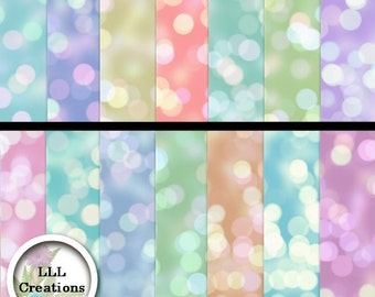 Downloadable Files - Nothing will be shipped - LLL Scrap Creations - Pastel Bokeh Papers - Digital Scrapbooking