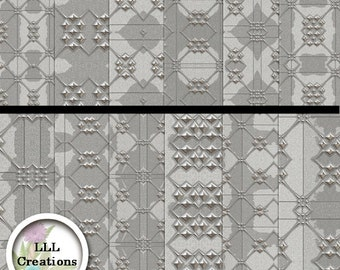 Downloadable Files - Nothing will be shipped - LLL Scrap Creations - Formal Silver Paper Pack - Digital Scrapbooking
