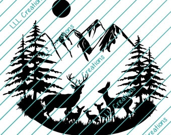 Downloadable Files - Nothing will be shipped - Deer Scene With 3 Babies Cutting File - CU ok - SVG - PNG for crafting, Cricut etc.