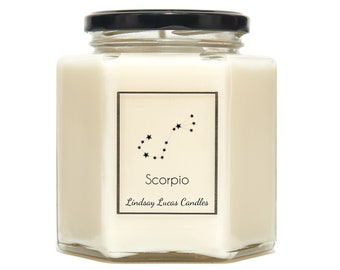 Scorpio Star Sign SCENTED CANDLE, Zodiac Constellation Astrology Gift, Horoscope Birthday Candles Astronomy