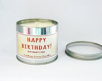 Birthday Cake Candle Scented Tin Soy Wax Gift Strong