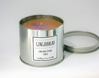 31539a6baef Gingerbread Candle, Gingerbread Scent Candle, Scented Candle, Tin Candle,  Ginger Candle, Ginger Scent, Large Candle, Strong Candle