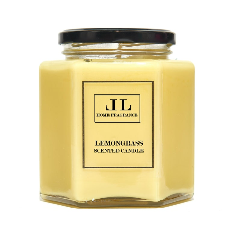 Lemongrass Essential Oil Scented Candle Yellow Soy Wax image 0