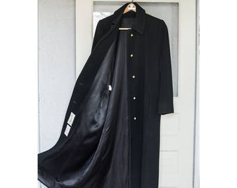 "Vintage Saks Fifth Avenue ""Fleurette"" 100% Black Cashmere Full Length Coat Size 12"