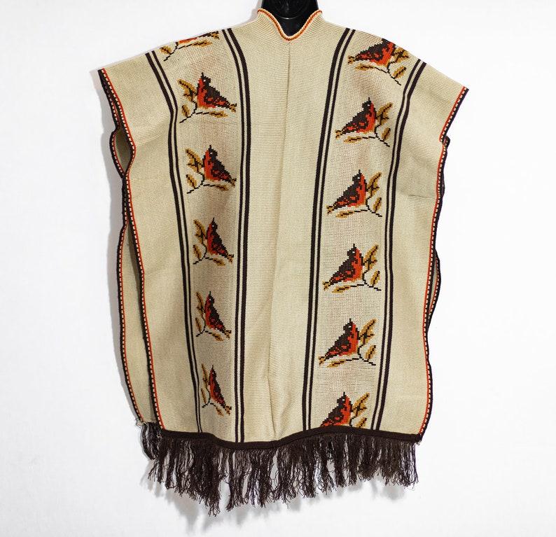 Amazing 70s Vintage Knit Bird Print Poncho w Fringe