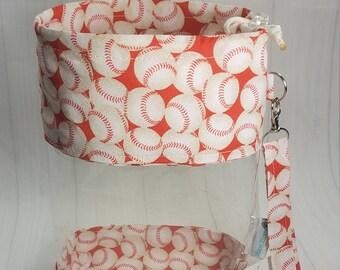 Clear Vinyl Drawstring Bag, Baseballs on Red, Knitting Project Bag, Sock Knitters Bag, Small bag CVS0096