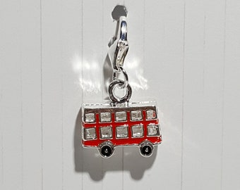 Double Decker Bus London Enamel Progress Keeper - Stitch Marker - 12mm silver lobster clasp finding - PK0049