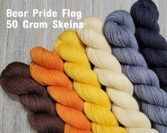 Bear Pride Flag 50 gram Set of 6 | Semi-Solid Hand Dyed Superwash Merino/Nylon Fingering Sock Yarn BPSS50