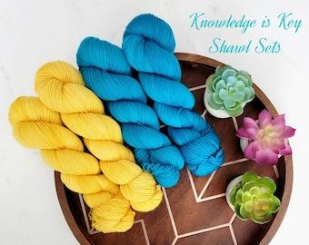 Knowledge is Key Shawl Yarn Set -Semi-Solid Tonal Hand Dyed Yarn | Deluxe High Twist Yarn | Fingering weight superwash merino nylon MG21