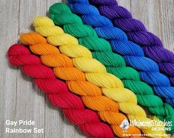 Pride Rainbow Mini Set of 6 - LGBTQ+ Gay Pride Rainbow Flag, Standard Sock 75/25 SW Merino Nylon Fingering Weight Yarn -hand dyed PRSS22