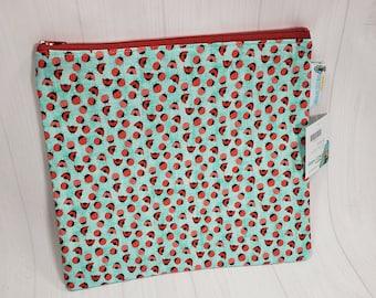 Ladybugs  Large Zipper Notions Bag Pouch, Knitting Notions Bag, Crochet   NPL08