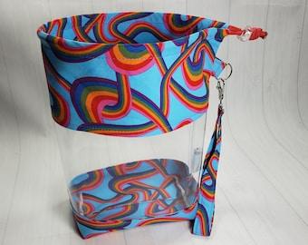 Clear Vinyl Drawstring Bag, Pride Rainbow Swirls Knitting Project Bag, Sock Knitters Bag, Small bag CVS102