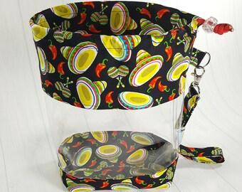 Smalll Clear Knitting Project Bag, Cinco De Mayo, Clear Vinyl Bag, Sock Knitting Bag, Clear window drawstring project bag CVS0067