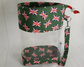 Small Clear Knitting Project Bag, Union Jack British Flag on Green, Clear Vinyl Bag, Sock Knitting Bag, Clear window drawstring bag CVS0068