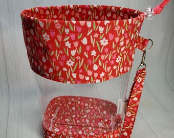 Tulips on Pink Clear Vinyl Drawstring Bag, Small Clear View Knitting Project Bag, Sock Knitters Bag, Small bag CVS114