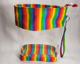 Pride Rainbow Stripes Medium Clear Knitting Project Bag, Clear Vinyl Bag, drawstring Clear window project bag CVM025