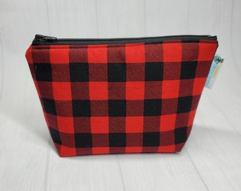 Buffalo Plaid (cotton fabric) Zippered Notions Pouch, Mini Wedge Bag, Knitting Notions Pouch, Craft Pouch NP098