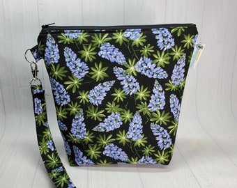 Bluebonnets Small Knitting Crochet Project Bag, Zippered clutch, small zipper tote cosmetic bag yarn tote SD14