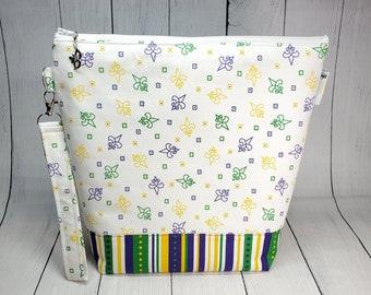 Mardi Gras Fleur de Lis Medium Knitting Project Bag, Zipper Yarn Bag, Zippered project tote, yarn caddy, knit bag tote Shawl WM089
