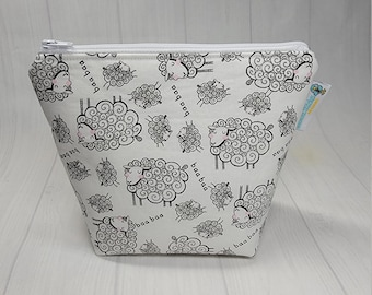 Baa Baa Sheep Large Notions Pouch, Zippered Wedge small clutch Bag, Knitting Notions Pouch, Craft Pouch NPL11