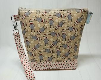 Sock Monkeys Small Knitting Crochet Project Bag, Zippered clutch, small zipper tote cosmetic bag yarn tote SD37