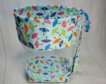 Rainy Day Umbrellas Blue Clear Vinyl Drawstring Bag, Small Clear View Knitting Project Bag, Sock Knitters Bag, Small bag CVS116