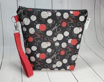 Yarn Balls & Knitting Needles Small Knitting Crochet Project Bag, Zippered clutch, small zipper tote cosmetic bag yarn tote SD09