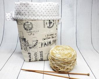 Small Bucket Project Bag, Fair Trade Coffee Fabric, Knitting Crochet Needlepoint project bag, bucket drawstring bag BSM02