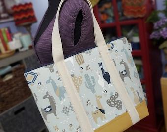 Jumbo Knitting Tote Bag, Desert Llamas, Xtra-Large Knitting Project Tote Bag, zipper top, interior pockets, sewn in handles WJT04