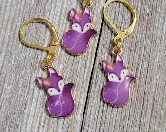 Purple Fox Progress Keeper with Lever Back finding (package of 1)  Knitting Stitch Marker, Progress Keeper PK095