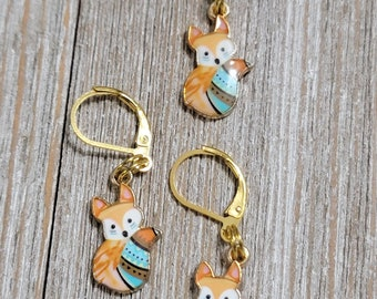 Blue Tail Fox Progress Keeper with Lever Back finding (package of 1)  Knitting Stitch Marker, Progress Keeper PK094