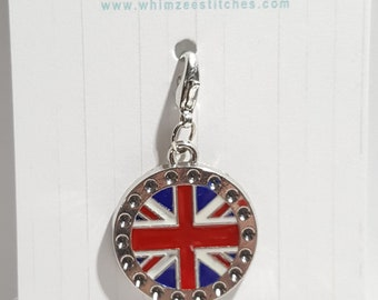 Union Jack Round Progress Keeper, British Flag Stitch Marker - 16mm silver lobster clasp finding - PK0059