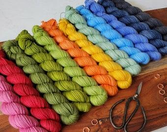 Summer Rainbow Mini Skein Collection - Twelve (15gam) fingering weight minis of superwash merino/nylon yarn - MDS01